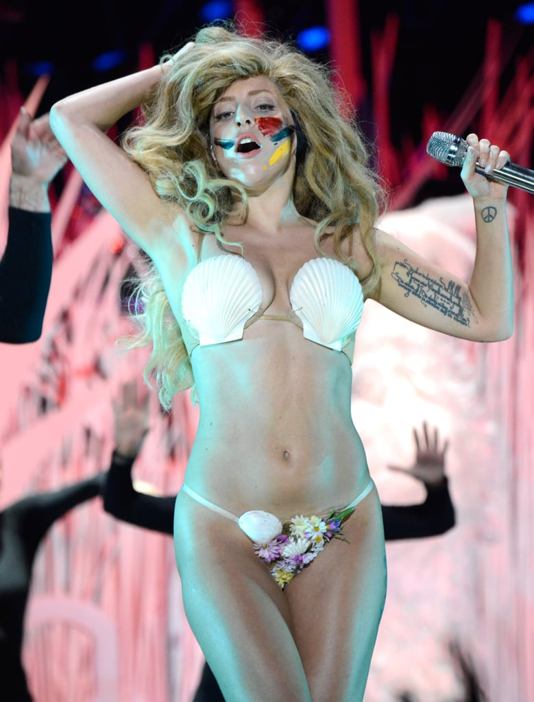 Lady Gaga stripped to a shell bra for the end of her performance.
