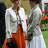 With her sister, Princess Eugenie, at Royal Ascot in 2014.