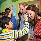 Kate and Will both donned a tilak during their visit in New Dehli, India, in April.