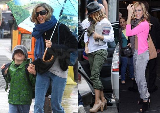 Pictures of Sarah Jessica Parker Promoting Sex and the City and Walking James Wilkie to School