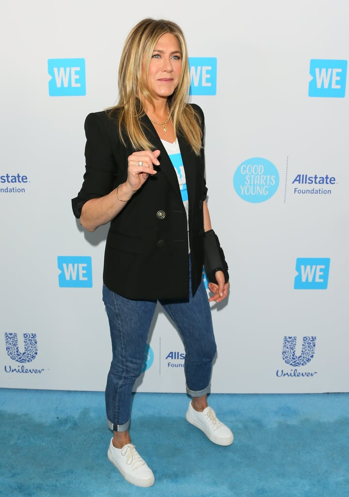 Jennifer Aniston White Sneakers We Day 2018