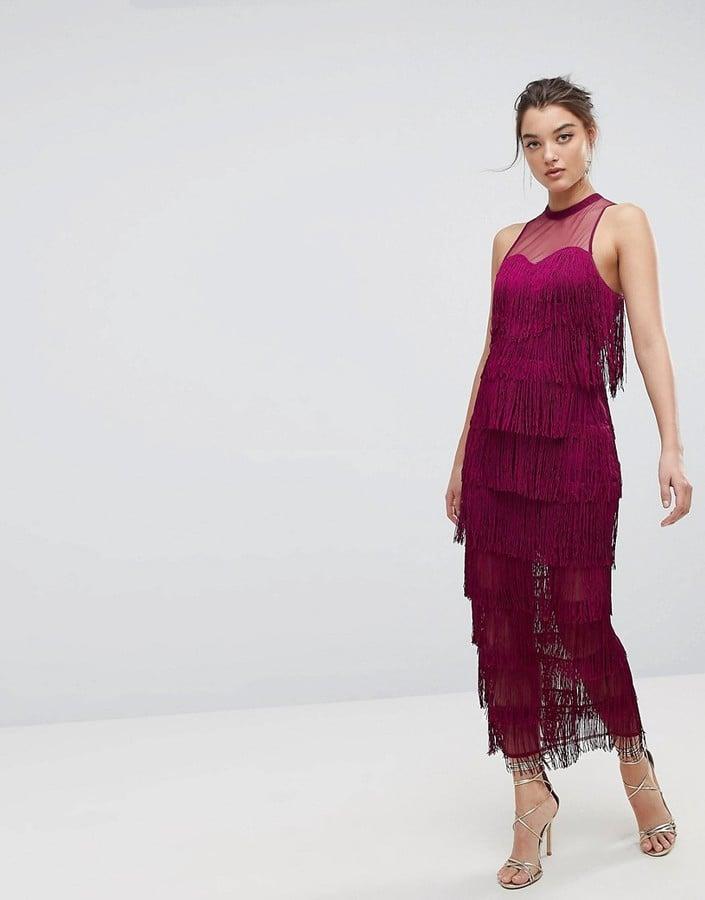 ASOS Mesh Top Fringe Maxi Dress