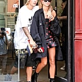 Hailey balanced a romantic Bec & Bridge minidress with a denim oversize Raf Simons jacket and Alexander Wang combat boots in NYC in July.
