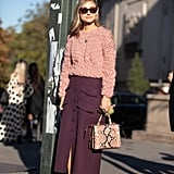 If you are more colour-averse but want to try your hand, pair a muted tone of burgundy with a paler pink for an understated look.