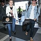 Gigi Hadid and Cody Simpson wore denim ensembles to LAX on Saturday.