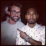Brad Goreski and Miguel posed for a photo at the Opening Ceremony runway show during NYFW. Source: Instagram user mrbradgoreski