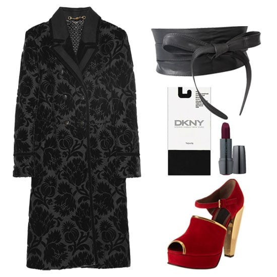 The great thing about this gorgeous Gucci coat is that it can easily double for a sexy dress. Just cinch it — we chose a wide obi-style belt — at the tiniest part of your waist to get the full fit-and-flare silhouette. Then, add a plum lip and statement dancing shoes, and the night is yours. Get the look:   Gucci Double-Breasted Thistle Jacquard Coat ($6,995)  ASOS Leather Obi Waist Belt ($34)  DKNY Opaque Control Top Tights ($15)  Lancôme Color Design Lipstick in Edgy ($22)  Marni Metallic Heel Sandal ($805)