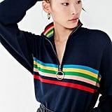 UO Oversized Striped Half-Zip Sweater