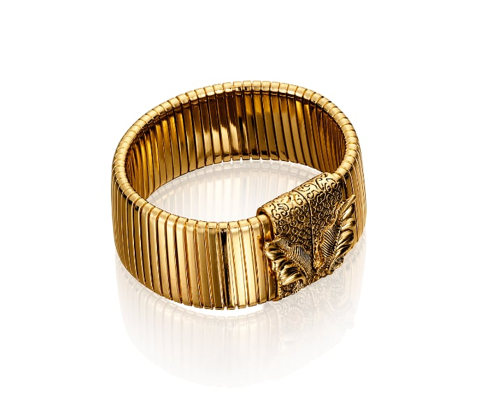 Editors' Pick: We love the textural intrigue of this gold bracelet. Plus, it's not too thick to be layered with other small wraps and bracelets.