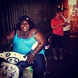 "Gabourey Sidibe tried to ""steal a scooter"" during an outing in New Orleans with Lance Bass and Michael Turchin. Source: Instagram user lancebass"