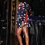 Solange loved her printed Diane von Furstenberg pantsuit so much she sported the shorts version during a performance in NYC.