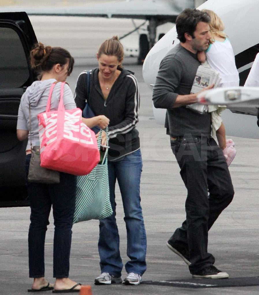 "Jennifer Garner and Ben Affleck had their hands full at the Van Nuys airport in LA yesterday. They loaded up a private plane with luggage and their daughters Violet and Seraphina, with the help of multiple assistants. The travels are just the latest for Jennifer following her recent trip to NYC, where she promoted her work with Save the Children, while Ben's been hanging closer to home, even making an appearance at the Guys Choice Awards earlier this month. It's time for the family to celebrate Ben's hot Hollywood dad status on Father's Day, and they can also applaud his new directing project, Tell No One. Jennifer's parenting skills have been receiving some attention lately too, since Rachel Zoe gushed about Jennifer's ""supermom"" ability and said that she's given her great advice as a new mother."