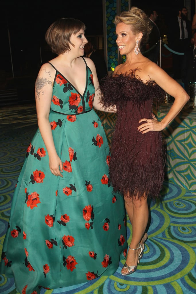 Lena Dunham chatted with Cheryl Hines at the 2013 HBO Emmys afterparty.
