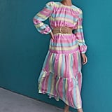 Halogen x Atlantic-Pacific Long-Sleeve Stripe Tiered Organza Dress