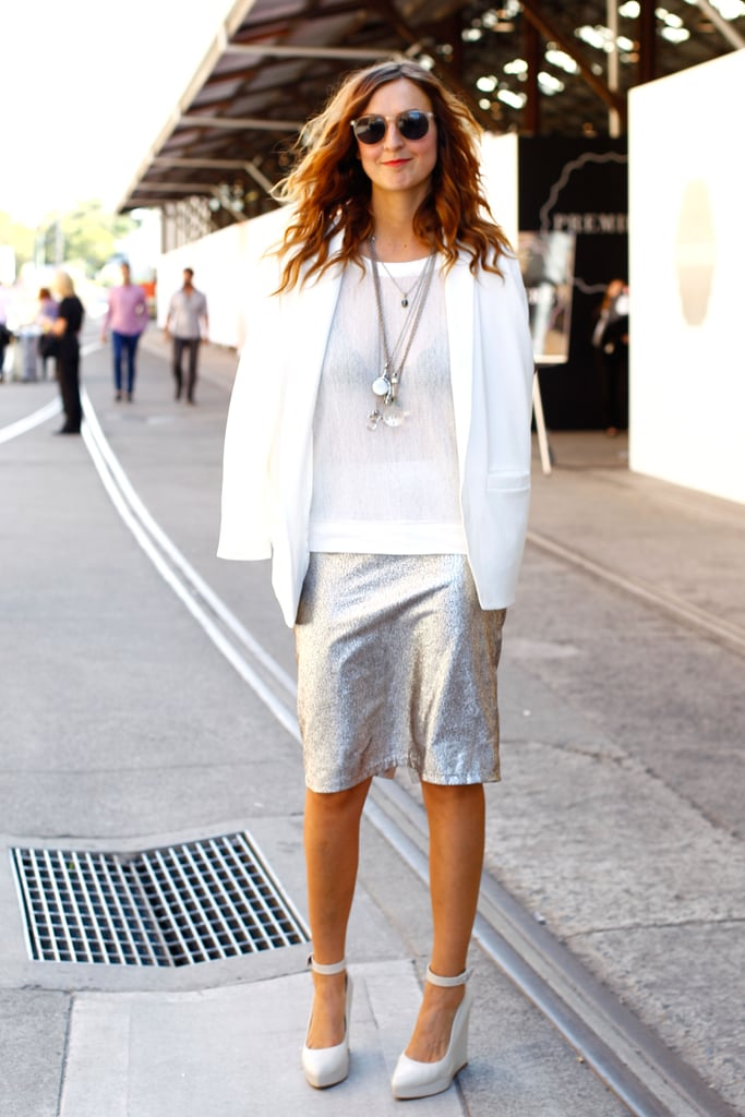 Introduce Spring trends like fresh white and metallic, but keep it layered up until the sun comes out officially.
