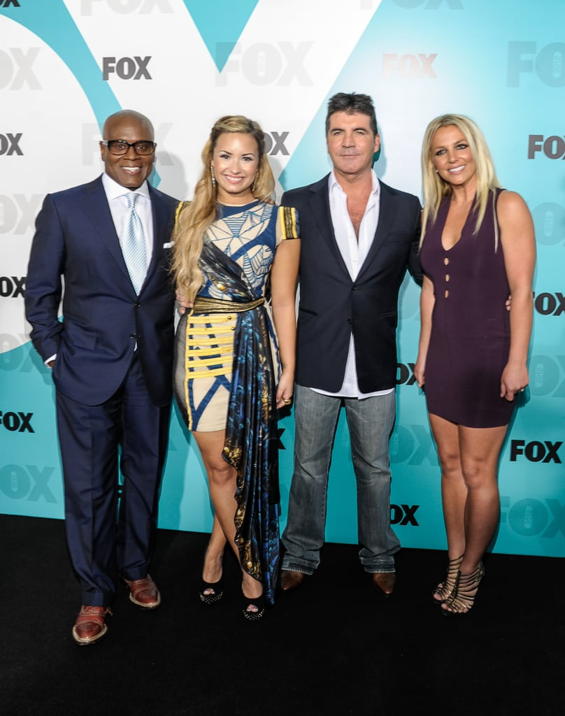 L.A. Reid, Demi Lovato, Simon Cowell, and Britney Spears got together at the Fox Upfronts party in Central Park.