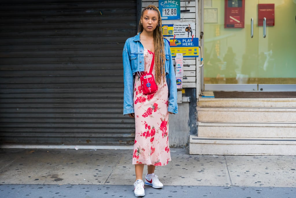 Wear Yours Under a Cropped Denim Jacket With a Crossbody Bag and Sneakers