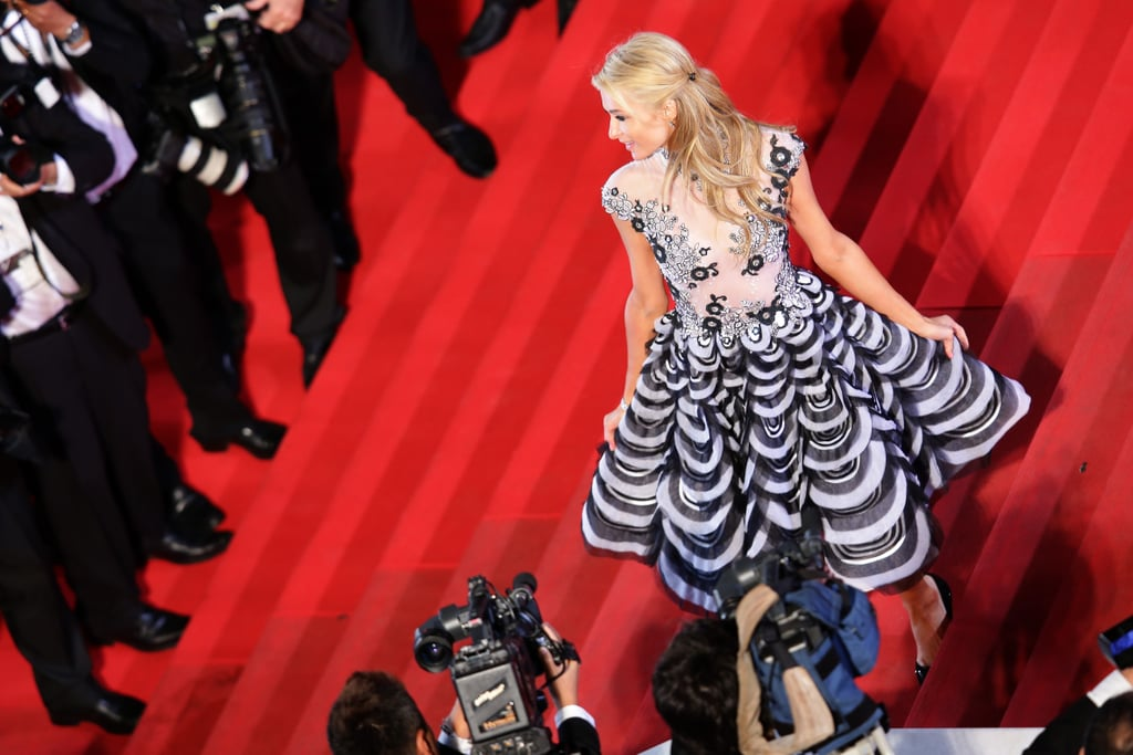 Paris Hilton climbed the famous steps during a premiere on Sunday.