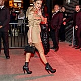 The trench dress shortened into a mini for partying after hours.