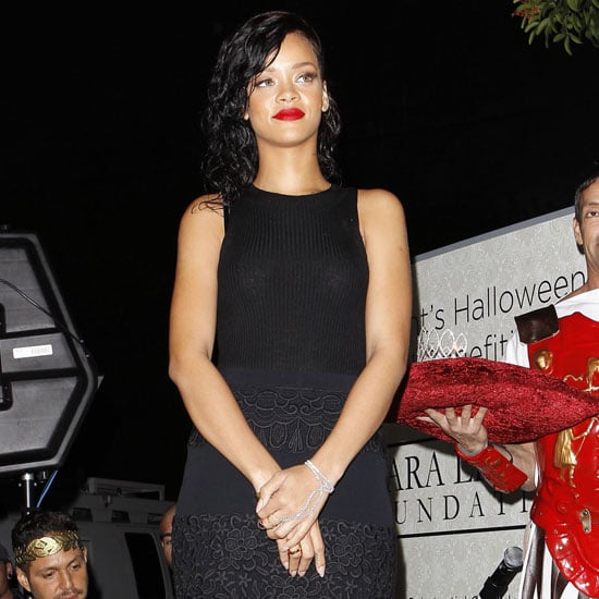 Rihanna Wearing Black Lace Pencil Skirt