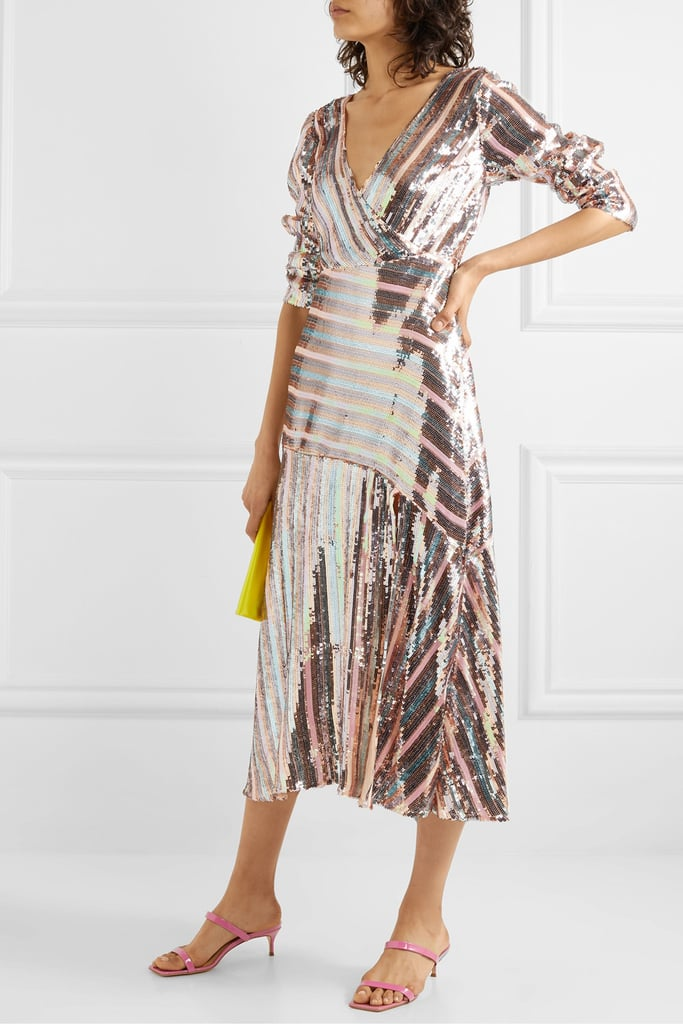 Rixo Tyra Striped Sequined Crepe Midi Dress ($611.18)