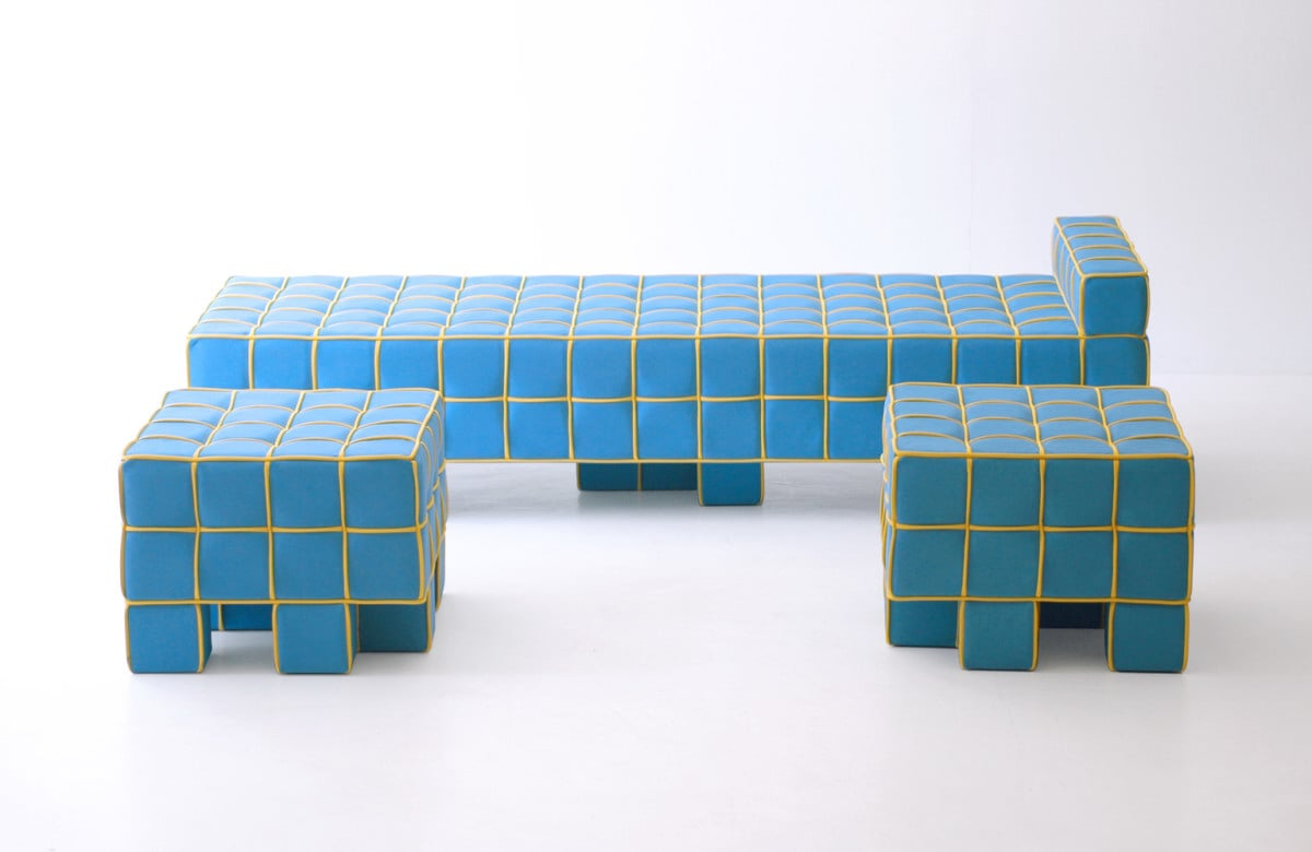 Look familiar? This grid sofa by designer Kim HyunJoo with its grids and cubic feet is right out of a Tetris game.