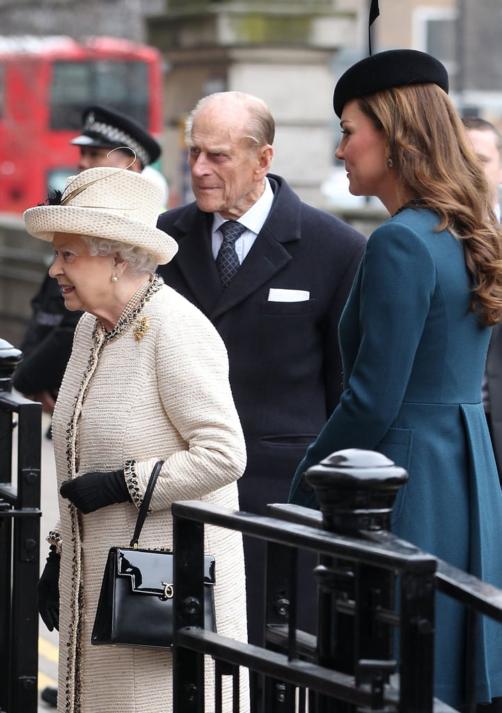 Kate Middleton walked into the Baker Street Underground station with the Queen and Prince Philip.