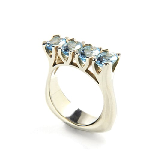 9 carat white gold and aquamarine ring, $2,800, Love and Hatred