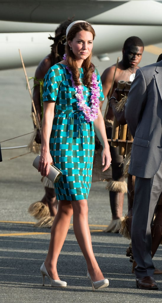 She also got lei'd after she arrived at the Solomon Islands with Prince William in September 2012.