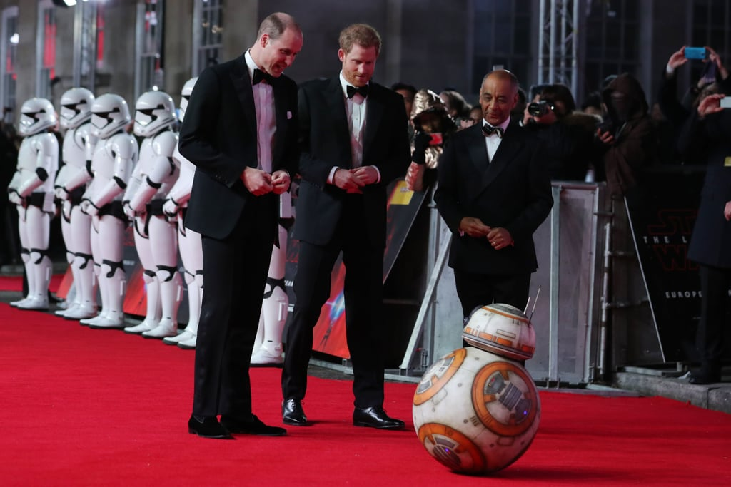 Prince William and Prince Harry looked dapper in suits and bow ties as they arrived for the European premiere of Star Wars: The Last Jedi at Royal Albert Hall in London on Tuesday. The brothers followed cast members Daisy Ridley, John Boyega, Mark Hamill, and Oscar Isaac on the red carpet, though technically they count as cast members, too; after visiting the set last April, Harry and William landed coveted roles as stormtroopers in the film. On the carpet, they smiled while passing a line of stormtroopers and stopped to take a look at another character, BB-8. Tuesday's premiere benefited the Royal Foundation, and more than 400 people who have taken part in their programs joined the royals at the event. They also invited some of the families who were affected by the Grenfell Tower tragedy in June. It's been an exciting few months for Harry and William, to say the least. William and his wife, Kate Middleton, are gearing up to welcome their third child in the Spring, and Harry will be walking down the aisle with fiancée Meghan Markle around the same time. Between engagements, pregnancies, and big-screen cameos in movie franchises, the royals are certainly having a stellar 2017.