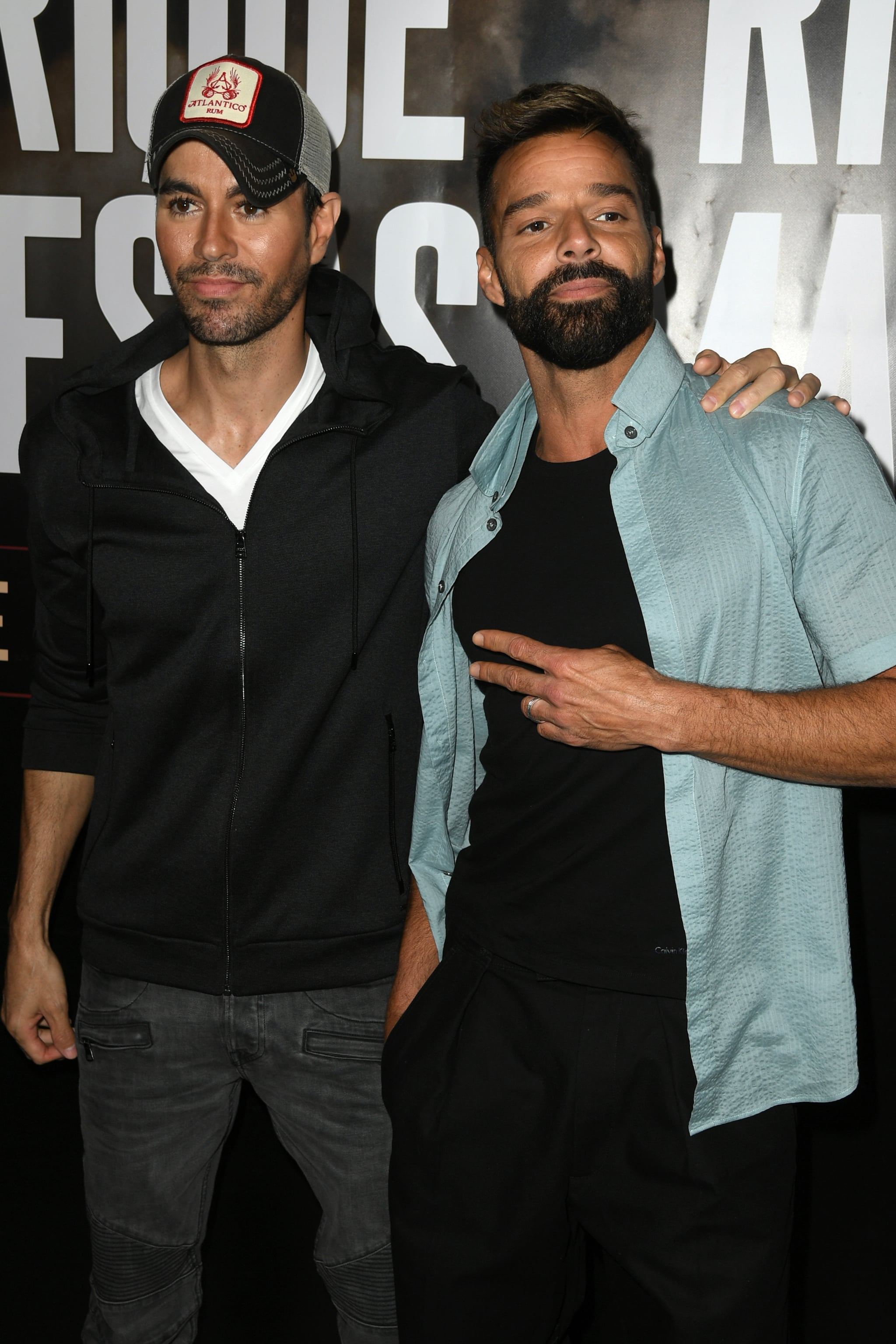 WEST HOLLYWOOD, CALIFORNIA - MARCH 04: Enrique Iglesias (L) and Ricky Martin hold a press conference at Penthouse at the London West Hollywood on March 4, 2020 in West Hollywood, California. (Photo by Kevin Winter/Getty Images)