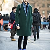 Gorgeous, understated outerwear got a fresh update with high-wattage high-tops. Source: Le 21ème | Adam Katz Sinding