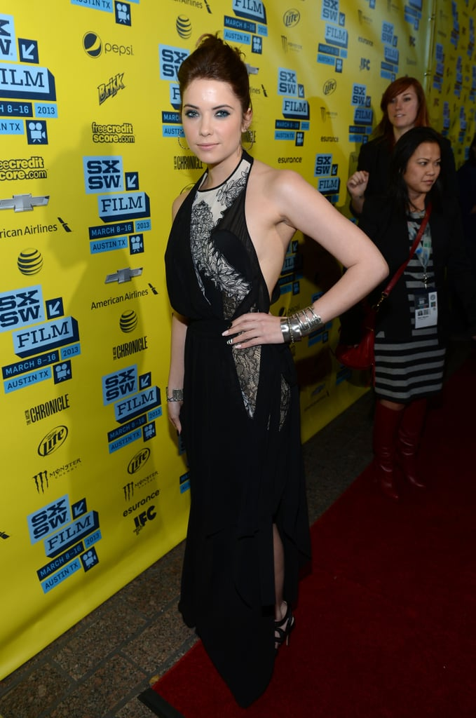 Ashley Benson took a darker approach in a black printed BCBGMAXAZRIA halter gown at the Spring Breakers premiere in Austin.