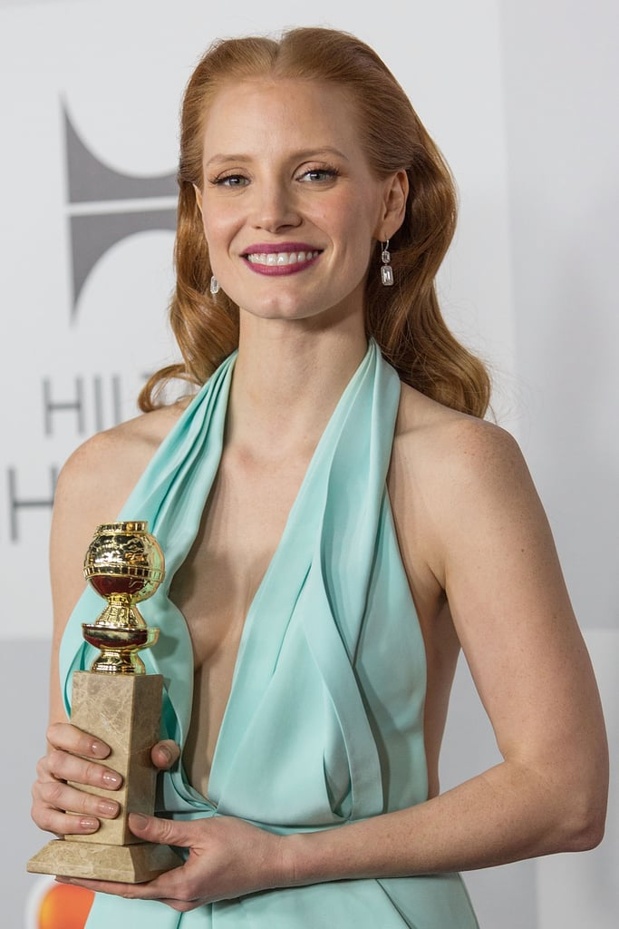 Jessica Chastain smiled with her award.