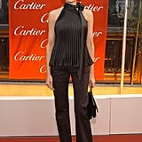 Melania owned plenty of halter-style tops, typically pairing them with pants and heels. She wore an all-black take on the look at the Cartier Mansion in New York in 2003.