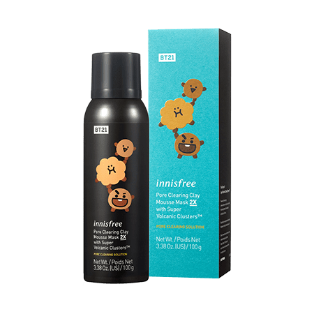 Innisfree BT21 Limited  Pore Clearing Clay Mousse Mask 2X With Super Volcanic Clusters in Shooky
