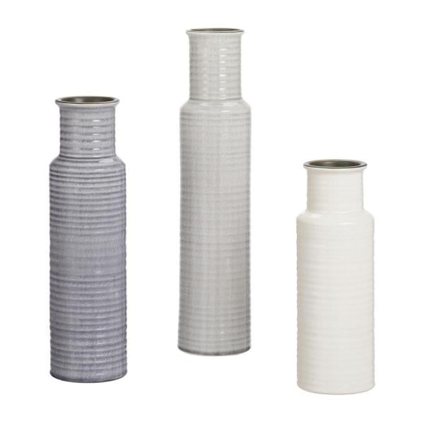 Home Decorators Collection Stone Grey, Shadow Grey and White Ceramic Decorative Vases