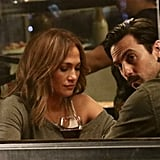 Jennifer Lopez and Milo Ventimiglia on Second Act Set