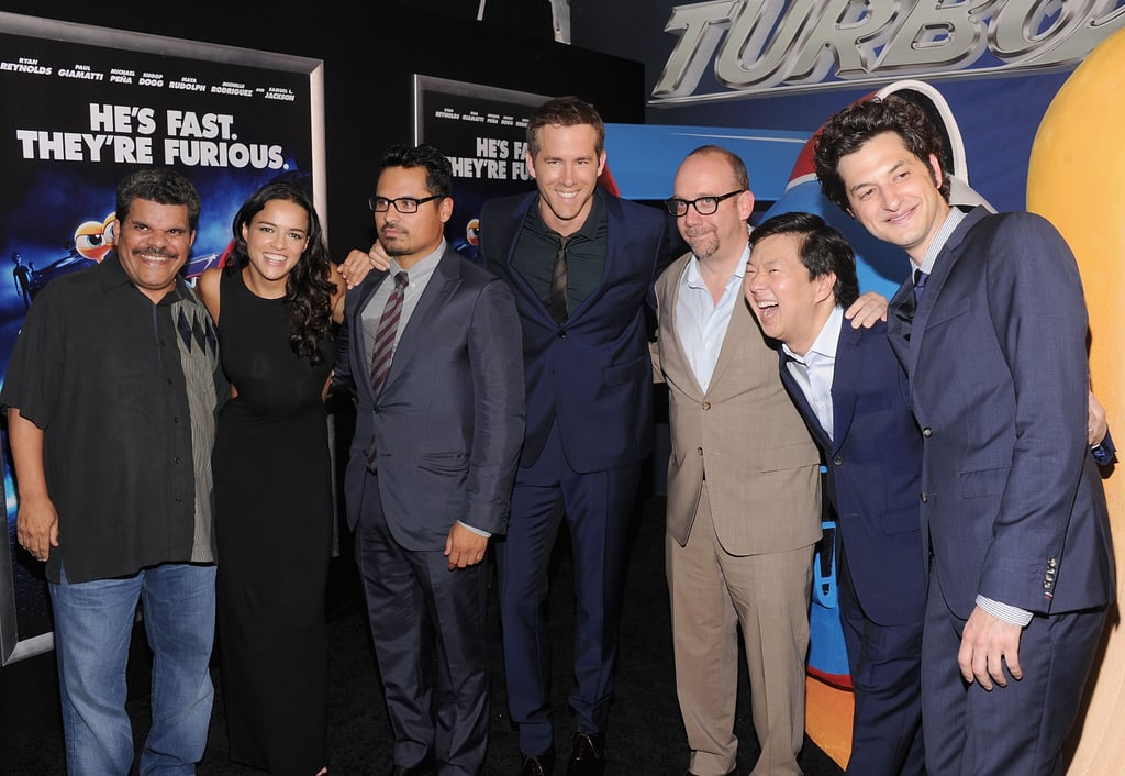The cast of Turbo posed together at the NYC premiere on Tuesday.
