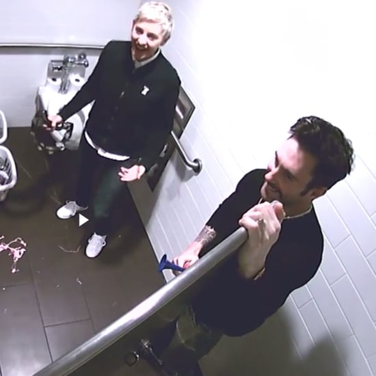 Ellen DeGeneres and Adam Levine's Bathroom Scares Prank 2016