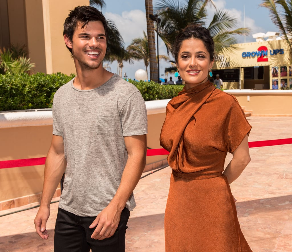 Taylor Lautner and Salma Hayek promoted their movie Grown Ups 2.