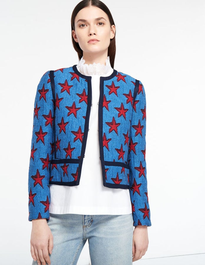 Sandro Star Print Jacket Contrasting Colour