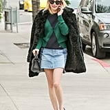 She Covered Up With a Furry Black Coat From Forever 21