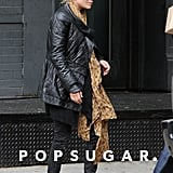 Mary-Kate Olsen was shopping in NYC wearing a leather jacket and scarf.