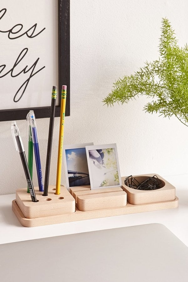 3-Piece Wooden Tray Desk Organizer ($50)