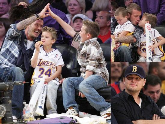 Photos of David Beckham, Cruz Beckham, Romeo Beckham, Brooklyn Beckham, Leonardo DiCaprio at Lakers-Pistons Game