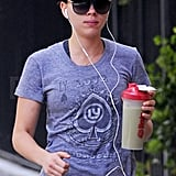 Scarlett Johansson wore sunglasses and a hat leaving the gym in NYC.
