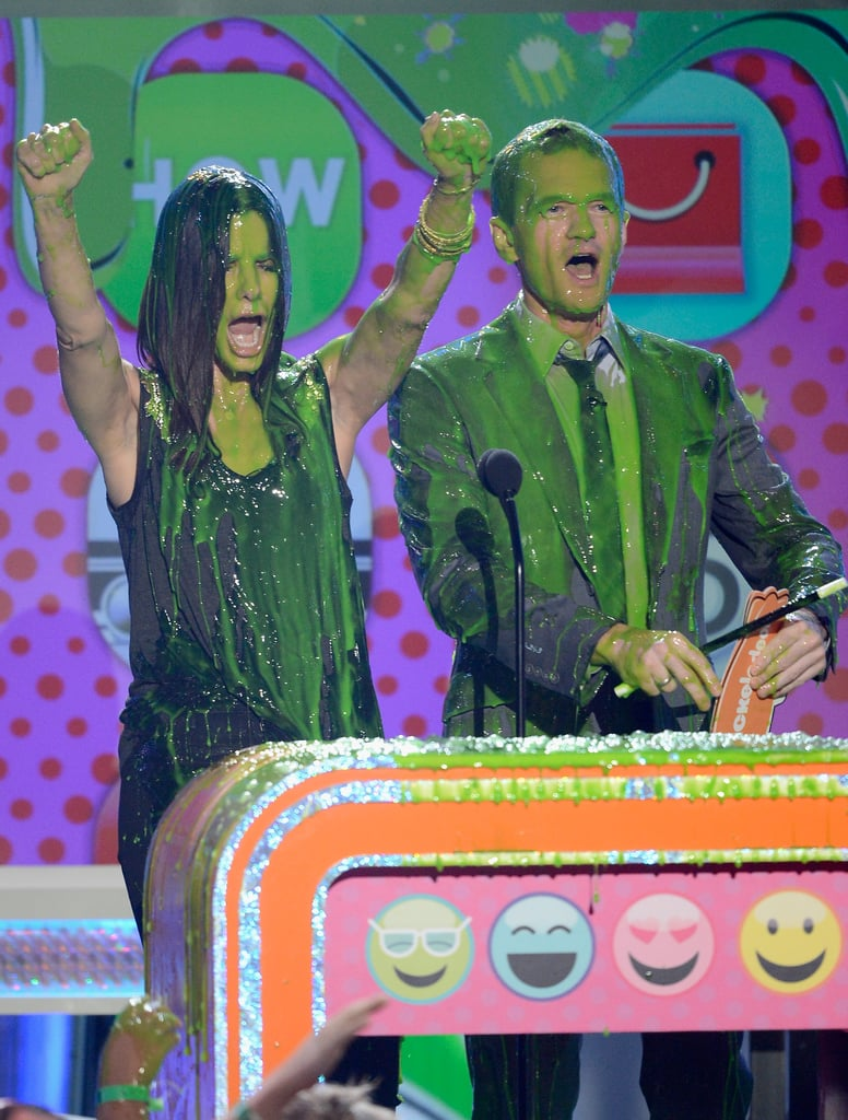 Sandra Bullock and Neil Patrick Harris were excited to be slimed.
