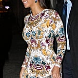 Beyoncé Knowles had a smile on her face leaving sister Solange Knowles's NYC show.