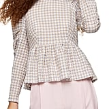 Topshop Check Gathered Sleeve Seersucker Blouse